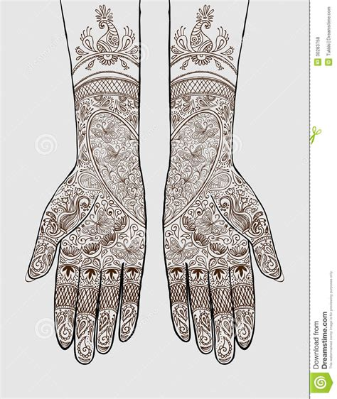 hands with henna tattoo stock vector image of drawing