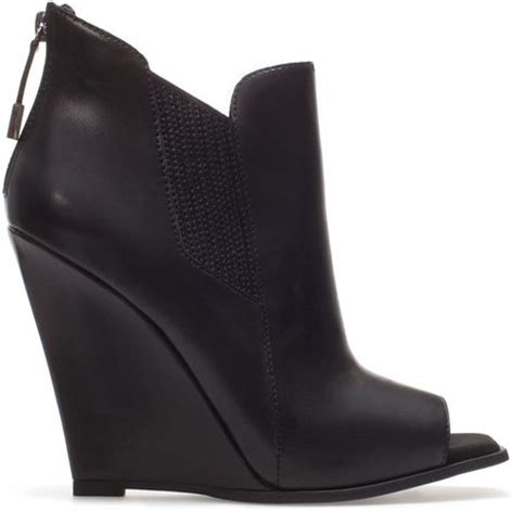 zara peep toe wedge ankle boot in black lyst
