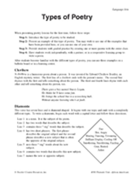 Types Of Poetry Worksheet by Types Of Poetry Printable 5th 8th Grade