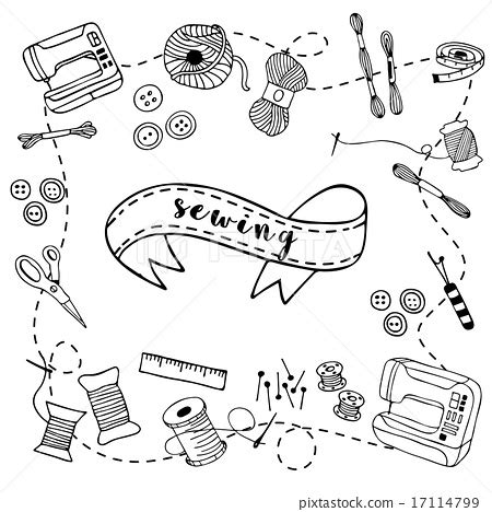 doodle article sewing doodle ภาพประกอบสต อก 17114799 pixta