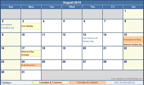2015 calendar template with canadian holidays august 2015