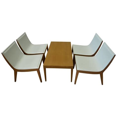 Hospitality Dining Chairs Dining Hospitality Chairs Of White Italian Leather With Maple Coffee Table For Sale At 1stdibs