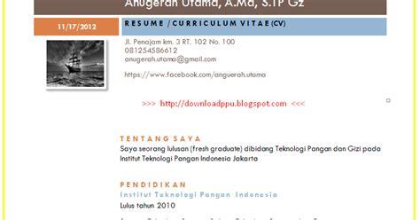 baru contoh resume cv curiculum vitae riwayat