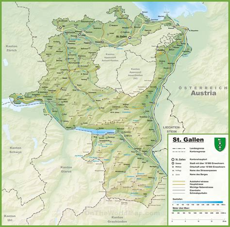 map cities and towns canton of st gallen map with cities and towns