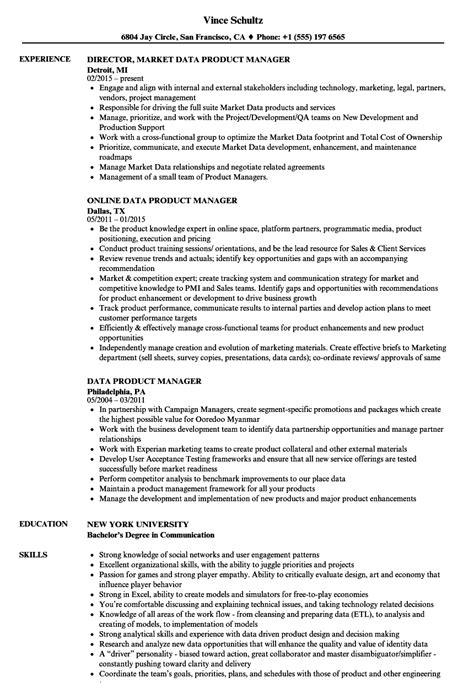 product manager resume data product manager resume sles velvet
