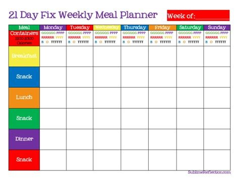 21 Day Fix Meal Plan Template how to create a 21 day fix meal plan sublime reflection