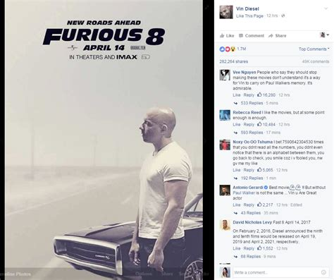 fast and furious 8 death start your engines vin diesel has shared the fast