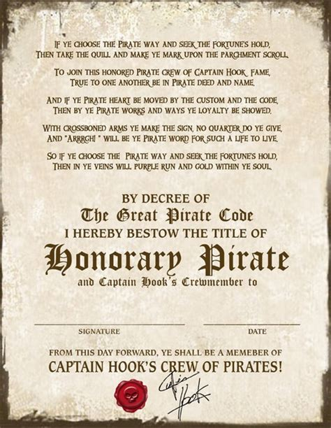 pirate certificate template pirate certificate cpt hook 2400x3106px free birthday