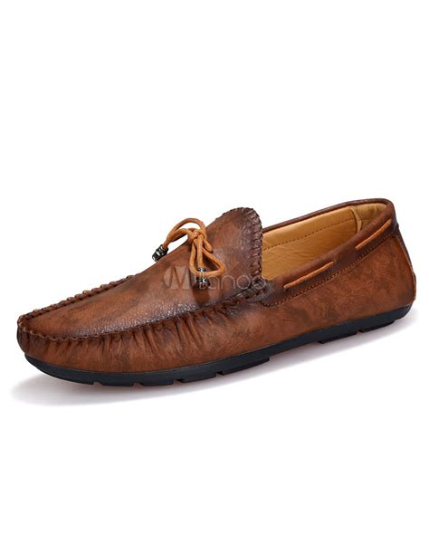 brown slip on loafers slip on loafers brown print pu shoes for