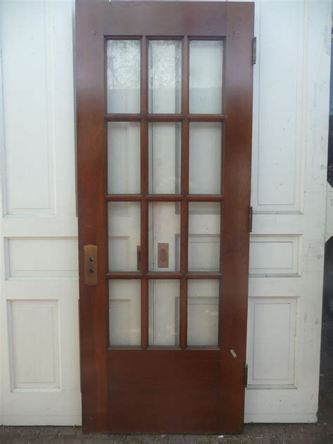 Antique Victorian French Entry Door C 1895 Twelve Pane Salvaged Exterior Doors