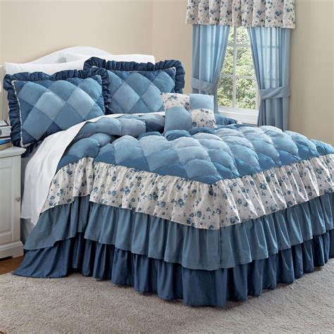 Ruffle Bed Set Blue Ruffle Bedding Sets