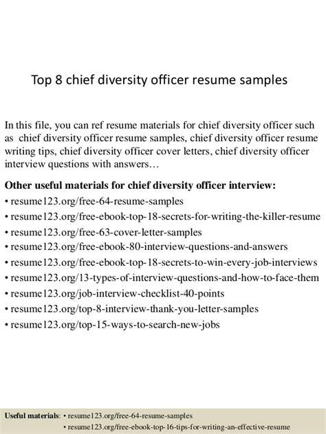 Diversity Officer Sle Resume by Top 8 Chief Diversity Officer Resume Sles