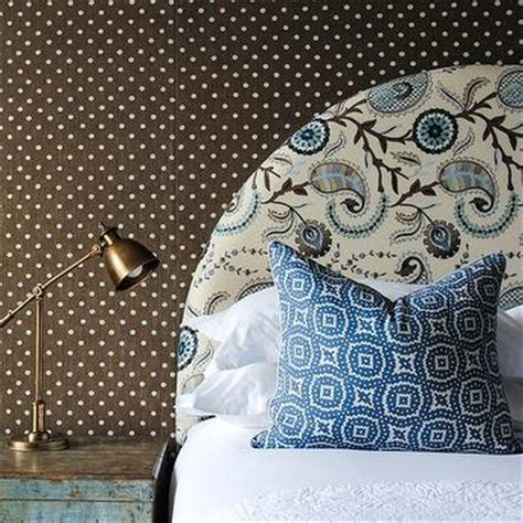 paisley headboard gray and brown bedroom with paisley wallpaper