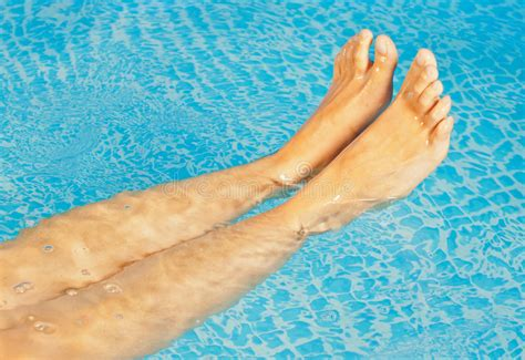 female swimmer hygiene young woman s feet in a swimming pool royalty free stock