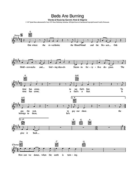 Midnight Beds Are Burning Lyrics by Beds Are Burning Chords By Midnight Melody Line