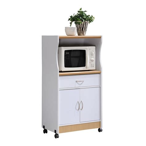 hodedah 1 drawer white microwave cart hik77 white the