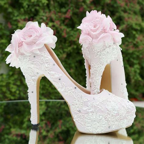 High Heels Brukat T sepatu lukis pompom brukat platform baby pink