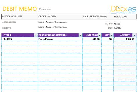 Credit Debit Format Memo Template Credit Debit Dotxes