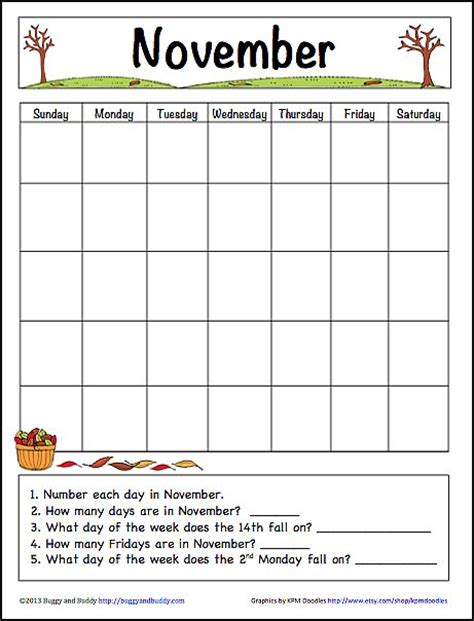 november learning calendar template for kids free