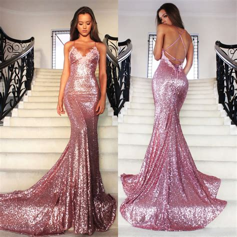 gold sequins spaghetti mermaid evening gown