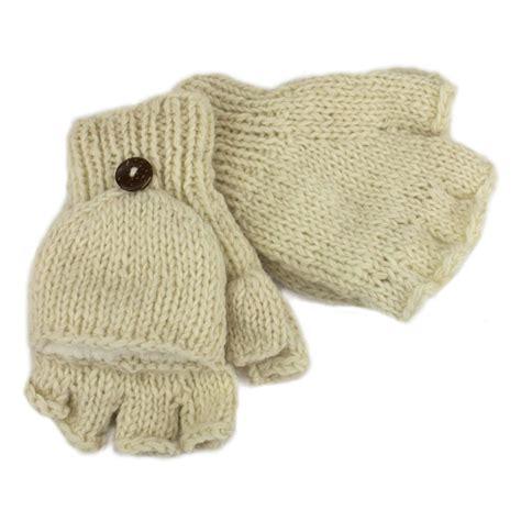 Handmade Fingerless Gloves - shooter gloves mittens fleece lined handmade nepal wool