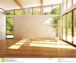 Wide Open Floor Plans Empty Room Of Business Or Residence With Woods Background