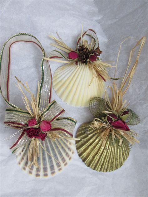 christmas shell ornaments set natural scallop shell
