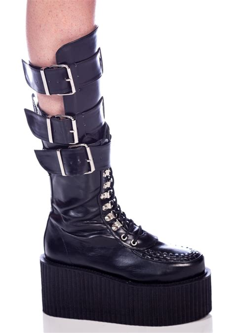 buckle boots demonia 3 buckle calf creeper boots dolls kill