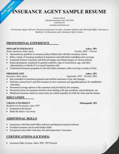 insurance agent resume insurance resume sle resume sles across all