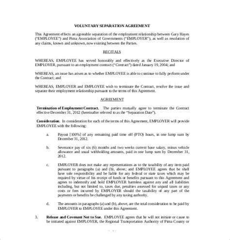 Agreement Letter For Separation 13 separation agreement templates free sle exle format free premium