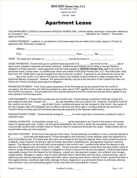 Apartment Rental Lease Brucall Com Apartment Rental Contract Template Word