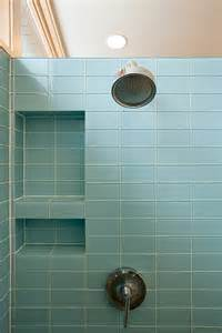 two layer blus ceramic tiled shower room shelf andwall