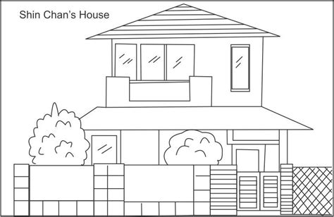 drawing how to draw a house and colour also how to draw shin chan s house coloring page for kids