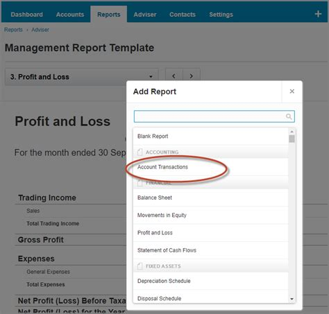 new to report templates the account transactions report