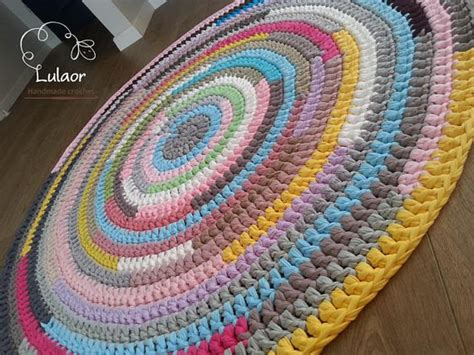 fabric yarn pattern crochet round rug t shirt yarn rug fabric yarn round rug