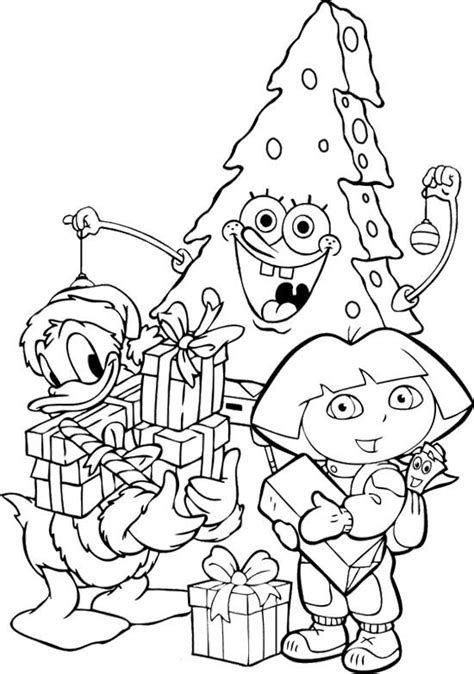 tree christmas spongebob coloring page all colored up
