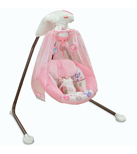 pink baby swing with canopy fisher price tree party cradle n swing