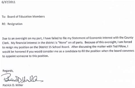 Resignation Letter To District Applications Being Accepted For District 15 Grade School Board Mchenry County