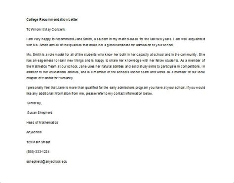 Draft Reference Letter For College how to write a recommendation letter for college admission