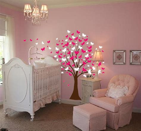 baby girl room large wall tree baby nursery decal butterfly cherry