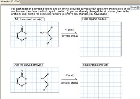 doodle how to make mechanism for each reactions between a ketone and an amine