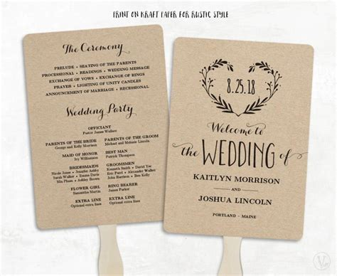 printable wedding program template wedding fan programs