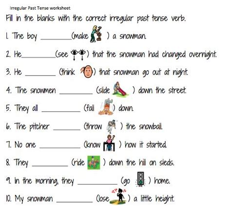 Simple Past Tense Worksheets For Grade 5