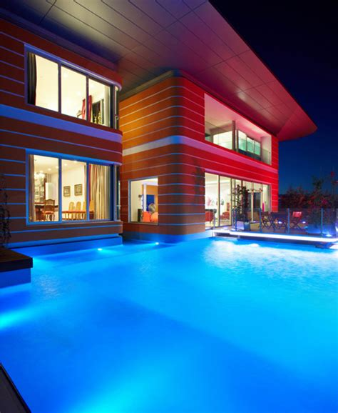 modern home design with colorful led lighting home