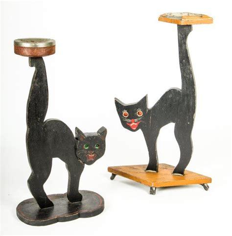 lot   folk art scroll sawn wooden cat ashtray stands