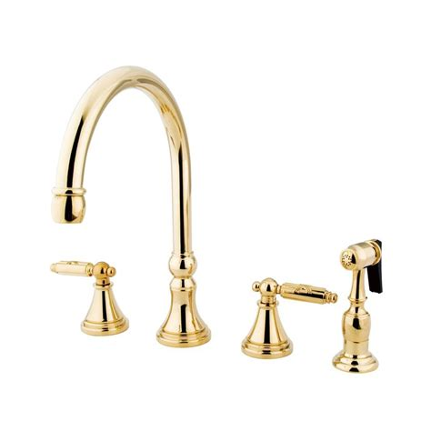 brass kitchen faucet shop elements of design polished brass 2 handle high arc