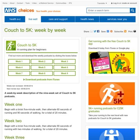 nhs couch 5k the couch to 5k plan pearltrees