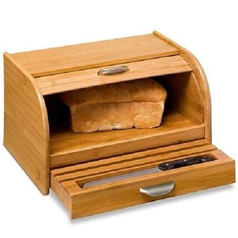 Bread Bin With Drawer by International Bamboo Wood Kitchen Rolltop Bread Box