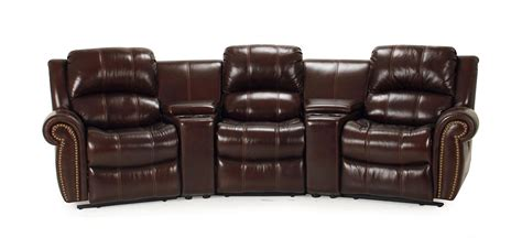 leather theater sectional parker living poseidon brown leather theater style