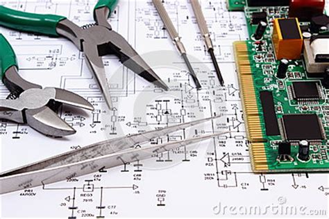 pcb layout contractor jobs printed circuit board and precision tools on diagram of